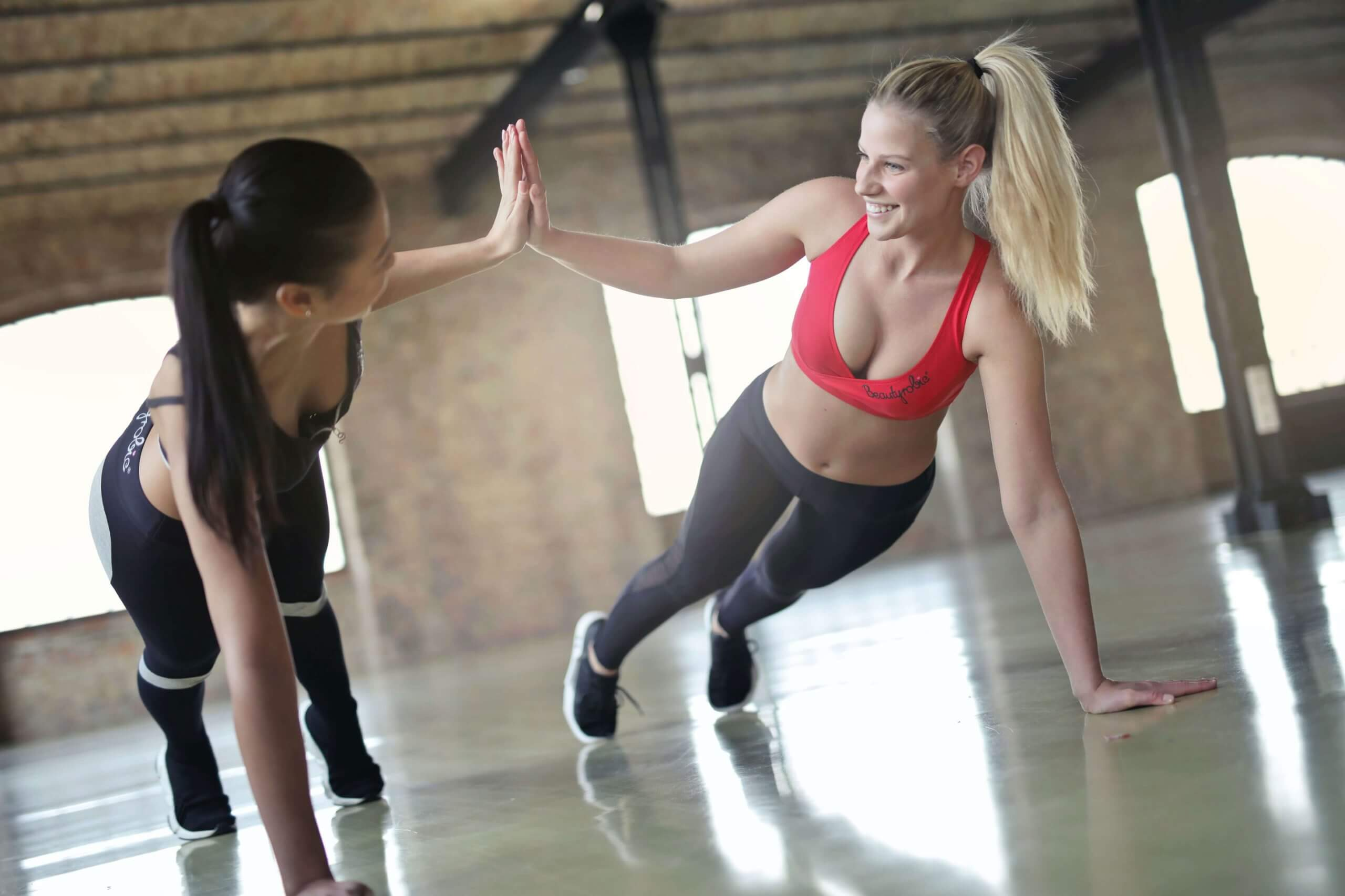 girls-working-out-hi-five
